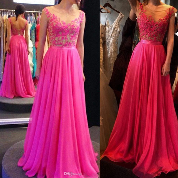 2016 Formal Fuchsia Cap Sleeves Evening Dresses Sheer Scoop Neck Chiffon Appliques Lace Long Prom Gowns Australia Party Dress Discount