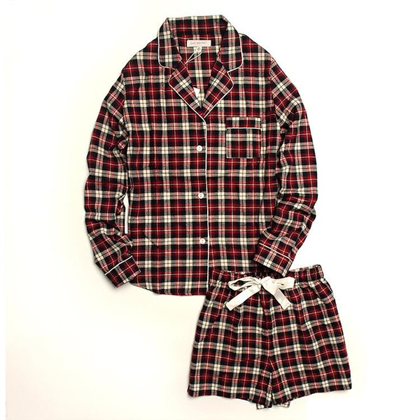 female spring summer cotton long sleeve plaid loose home lounge wears nachtkleding pyama pyjamas pijamas sets for woman mujer dames