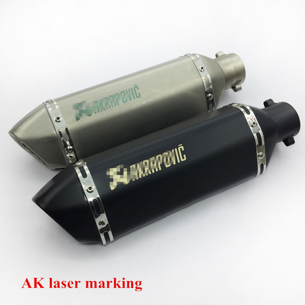 Laser Marking Akrapovic 38-51mm Universal Motorcycle Exhaust Muffler Pipe Silencer With Removable DB Killer