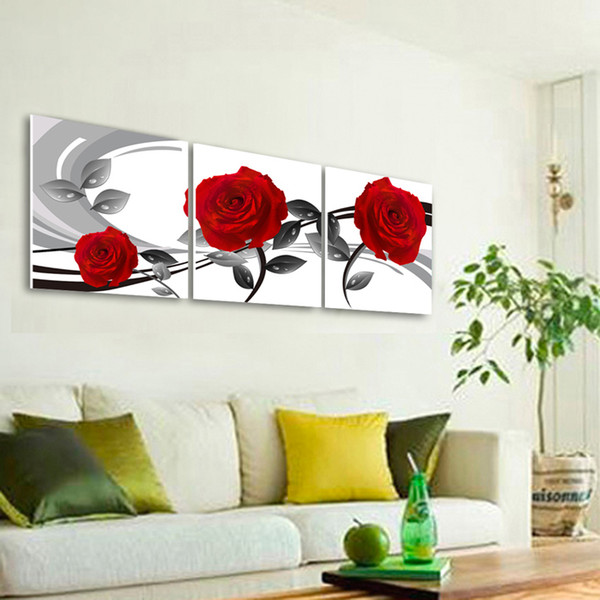 Free shipping 3 Pieces no frame Home decoration picture Canvas Print rose Abstract cartoon potted flower leaf tree autumn Coffee alarm clock