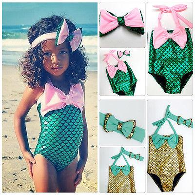 best selling free ups dhl ship 2016 New Children Girls Little Mermaid Bikini Suit Swimming Costume Swimsuit Swimwear with cute headband 2-7years