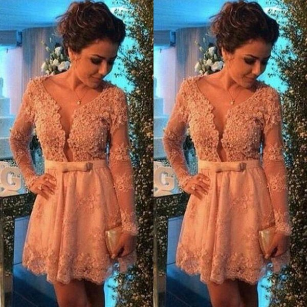 best selling 2019 New Lace Applique Long Sleeves Homecoming Dresses Beaded Deep V neck Bow Sash Sexy Cocktail Dress A-line Prom Party Gowns