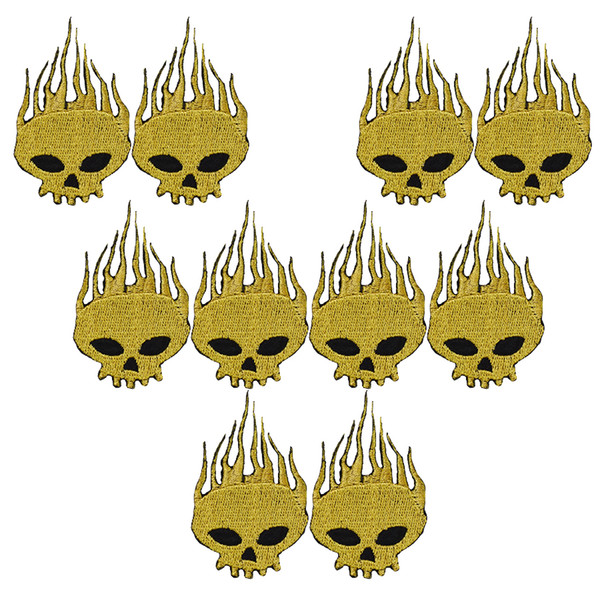 10PCS gold skull embroidery patches for clothing iron patch for clothes applique sewing accessories stickers badge on cloth iron on patches