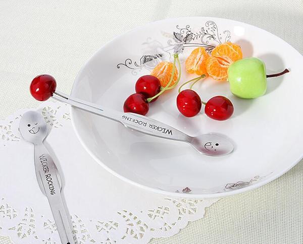 Multifunción Encantador Niño Fruta Tenedor Acero Inoxidable Cara Sonriente Vajilla Cuchara Tenedor 2 en 1 Pastel de Postre de Dibujos Animados