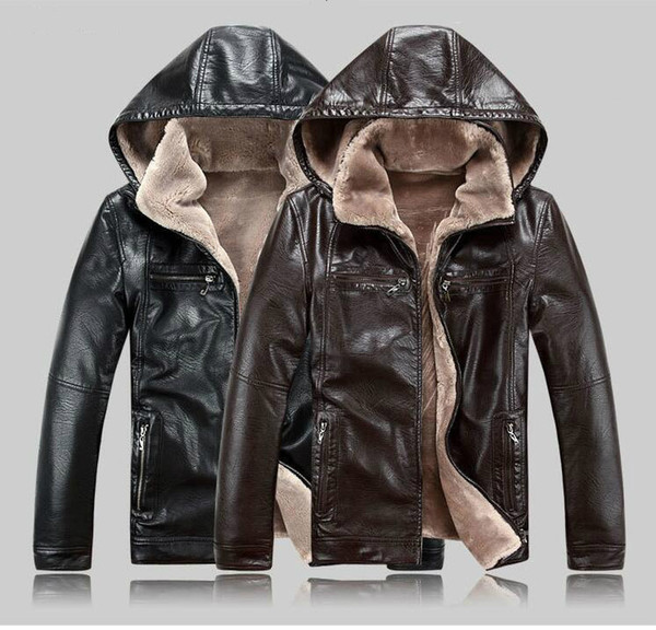 best selling Mens Leather Jackets Winter Coats Fur Hooded Tchik Warm Jackets Cashmere Lined Outwear Tops Tops High Quality Big Size M-5XL