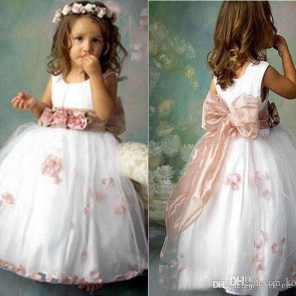 2016 schöne Braut Blumenmädchen Kleid Crew Tüll Appliques Kinder Brautjungfer Kleid Zurück Bogen Bodenlangen Funkelnde Kleine Mädchen Pageant Kleider