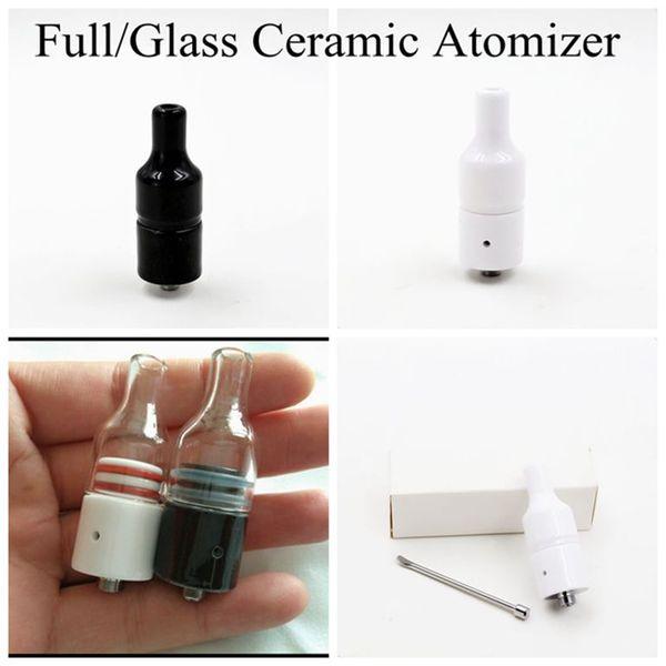 Full Ceramic Glass Wax Atomizer Donut Wickless No Wick Coils Herbal Pyrex Vaporizer 510 Tank Hookah Globe Bulb Vase Cannon Bowling Pen DHL
