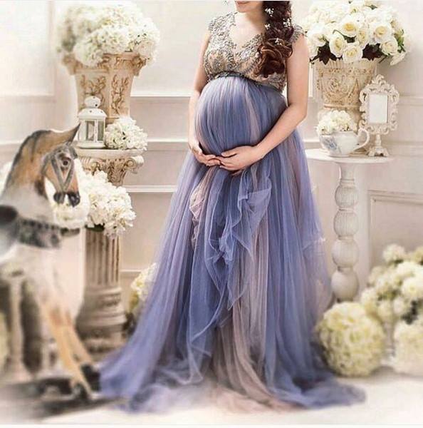 Lavender Tulle Plus Size Maternity Women's Formal Prom Party Dresses Custom Make Beaded Cap Sleeve Pregnant Special Occasion Gowns