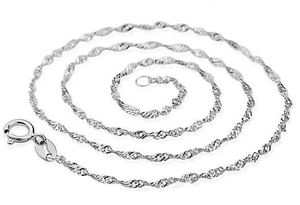 925 sterling silver jewelry woman girls necklaces chains diy pendants water wave chains white gold shiny choker fashion valentines gift 6pcs