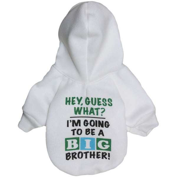 Creative Design Big Brother Puppy Dog Warm Hoodies White Pet Coat Sweater Apparel for Sale Fast Free Shipping