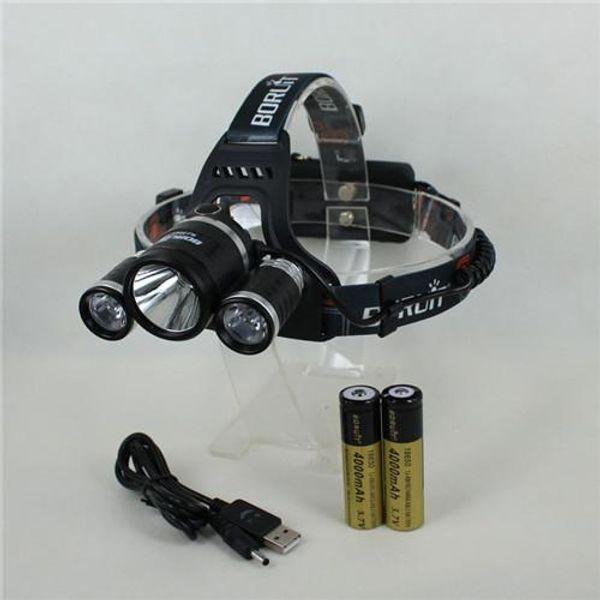 Free Shipping 3x CREE XM-L XML T6 LED 5000 Lumens USB Rechargeable Headlamp Headlight Light Head lamp 2x 4000mAh battery
