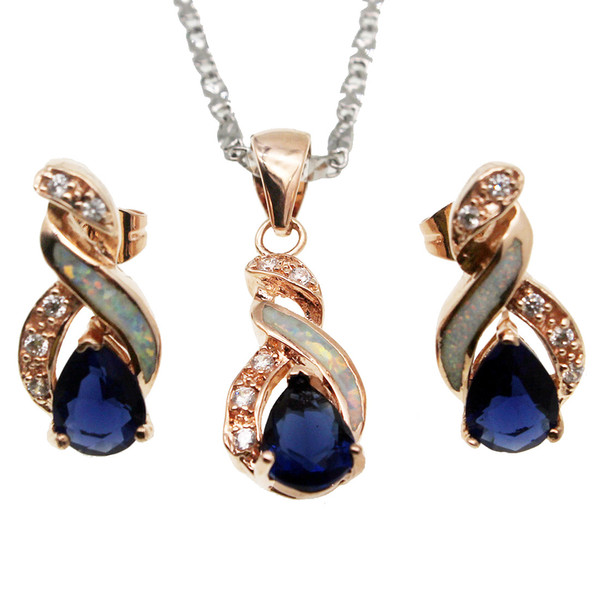Christmas Gift Jewelry Sets Natural White Opal Rose Gold Plated Blue Sapphire 8 Design Pendant Necklace Earring OPJS9