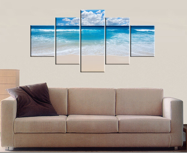 Unframed 5 pieces Free Shipping Canvas Prints sea sandy beach white clouds Sydney Opera House waterfall tree Green plants Modern city Dubai