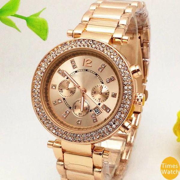 M marque 4 couleurs diamant Japon mouvement quartz Or Poignet en acier inoxydable Relojes Business mode Hommes femmes Top qualité montres d'or
