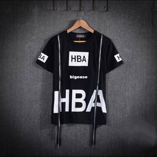 Wholesale- 2015 Men Fashion Hip Hop T Shirt Zipper Side HBA Hood By Air Harajuku T-shirts Spinal Cord X-ray Streetwear Tees