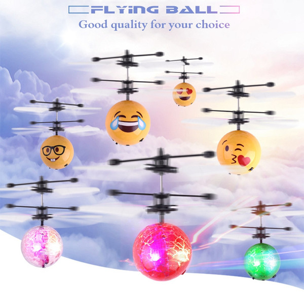 Crackle Crystal Facial Expression RC Flying Ball Infrared Sense Mini Aircraft LED Flashing Light Remote Control Toys With Retail Package