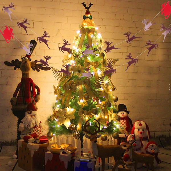 Weihnachtsbaum hängende Flagge Bunting Banner Xmas Decor Ornament String Party Dekorationen Indoor Outdoor Party Hochzeit