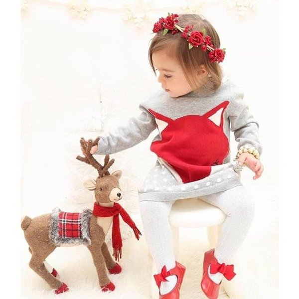 Ins New Autumn Winter Girl Children Long Pullover Sweater Dress Bebé Infant Toddler Fox Design Warm Wool Vestido de punto Vestido de suéter