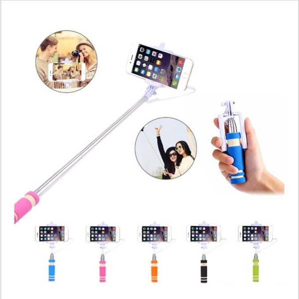 50/lotFoldableSuper Mini Wired Selfie Stick HandheldExtendable Monopod -Built in Bluetooth Shutter Non-slip Handle Compatible with cellphone