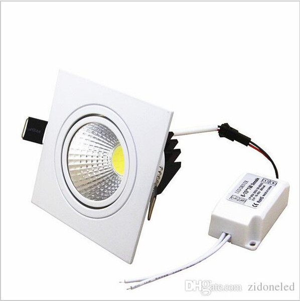 square recessed led dimmable down lights COB led recessed lights 7W/9W/12W/15W LED spotlight decoration Ceiling Lamp AC85-265V
