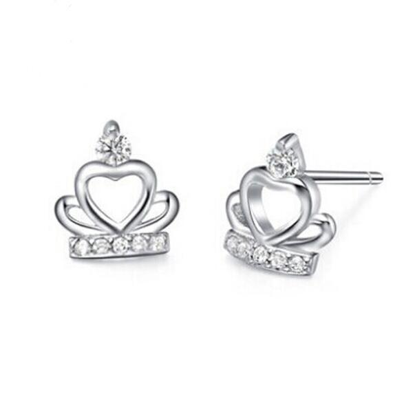 Fashion 925 Sterling Silver Plated Earrings Austria Crystal Zircon Crown Stud Earrings For Women Jewelry ED088