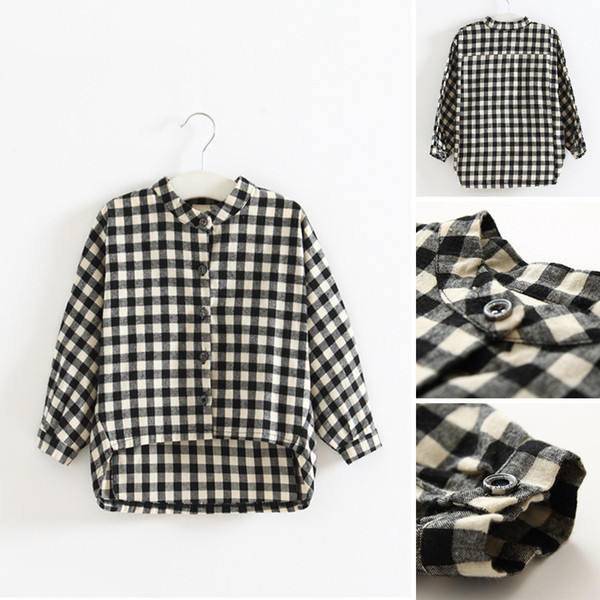 best selling 2017 New Arrival Spring Autumn Baby Girls Casual Plaid Shirt Children Long Sleeve Plaid Shirt Kids Clothing 2 Colors