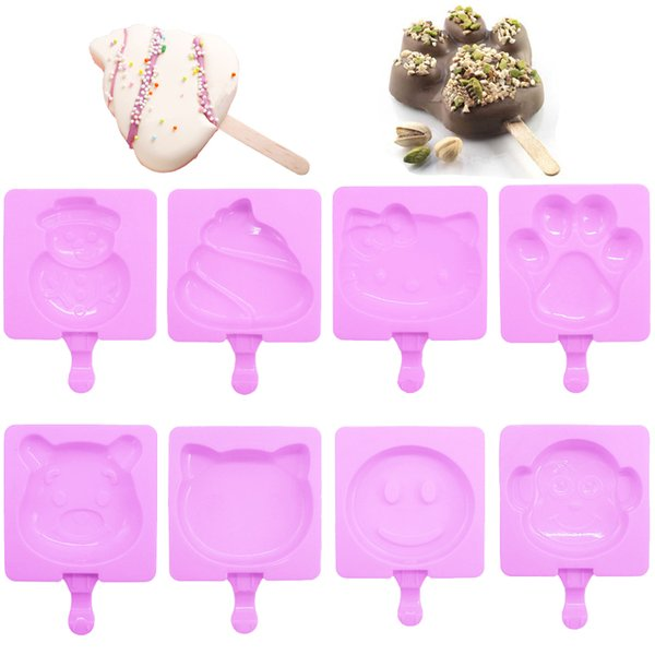 8 Designs Silicone Easy Ice Cream Mold Frozen Ice Bar Popsicles Mould With Cover DIY Cartoon Ice Cream Maker Sigle cell Molds