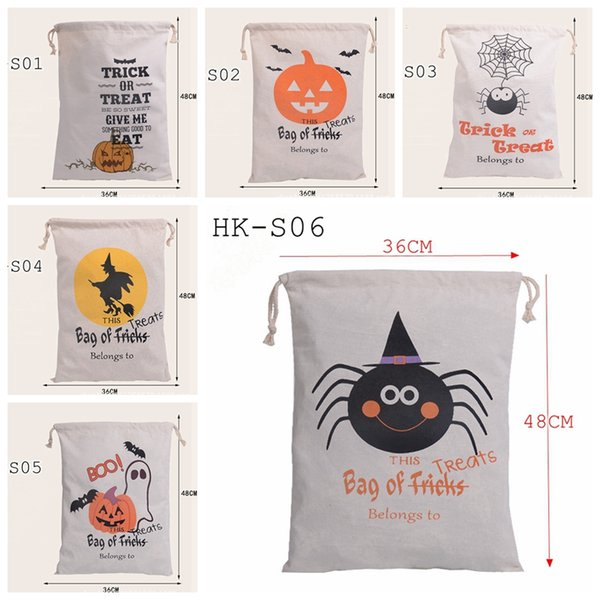 best selling Halloween Canvas bags Children shopping bags cotton Drawstring Bag With Pumpkin, devil, print Hallowmas Gifts Sack Bags 6styles