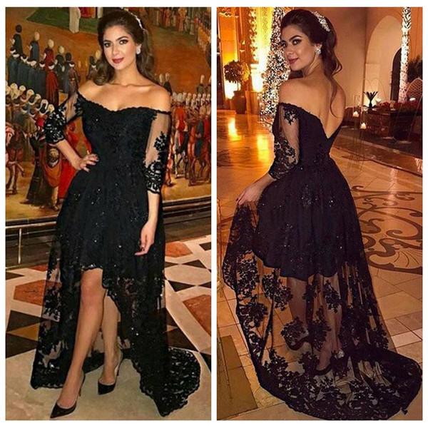 Vestidos de baile negros atractivos Largo más el tamaño 2017 Fuera del hombro Vestido de fiesta formal con cuentas altas y bajas Vestidos de noche de las mujeres árabes