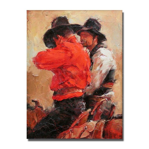 Hand Made Canvas Oil Painting Living Room Wall Pictures Ride Horse Painting Wall Hanging Decor Unframed