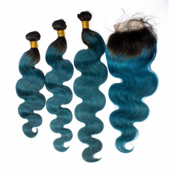 T1B Green Ombre Brazilian Body Wave Hair With Closure 4Pcs Lot Dark Roots Green Teal Two Tone Colored 3Bundles With 4x4 Lace Closure
