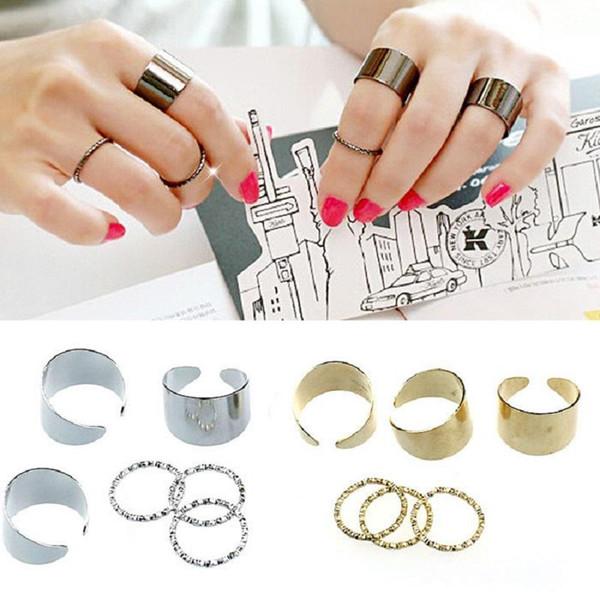 1 Set 6 pcs Punk Gold Stack Plain Band Midi Mid Finger Knuckle Ring Jewelry C00061 OST