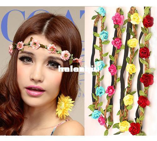 Fascia all'ingrosso della Boemia per i fiori delle donne Intrecciato Headwrap elastico di cuoio per la fascia dei capelli delle signore Colori assortiti Hairband degli ornamenti dei capelli