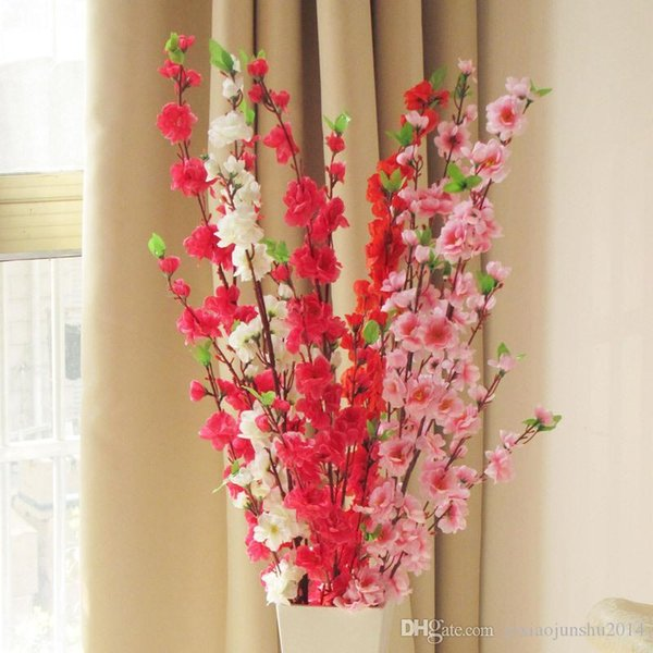 2016 Elegant Peach Blossom Silk Flowers Artificial Peach Branches Christmas Ornament Bouquet Wedding Centerpieces Decorations Supplies