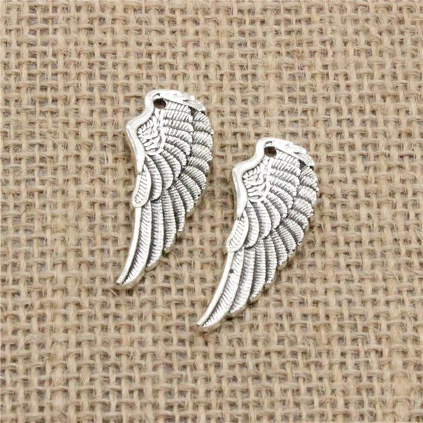 Wholesale 35pcs Charms Tibetan Silver Plated angel wings 38*14mm Pendant for Jewelry DIY Hand Made Fitting