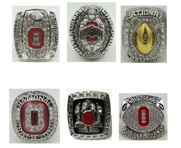 A set 6PCS rings 2002 2008 2014 2015 2016 Ohio State Buckeyes National Championship Rings sports men rings sizes 11