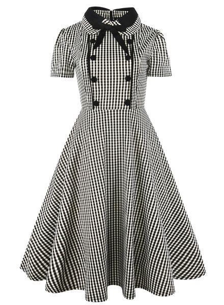 Gros, européens et américains treillis noir et blanc avec des poupées à manches courtes avec noeud papillon et grande robe de princesse pendule 3XL-5XL