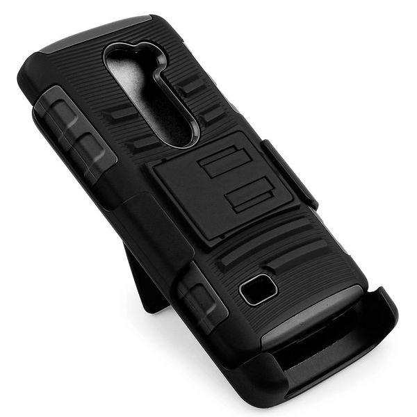 Schutz 3 in 1 Combo Holster Hybrid Telefon Fall mit Gürtelclip für LG Leon Tribute 2 C40 Kleinpaket 10 Teile / los