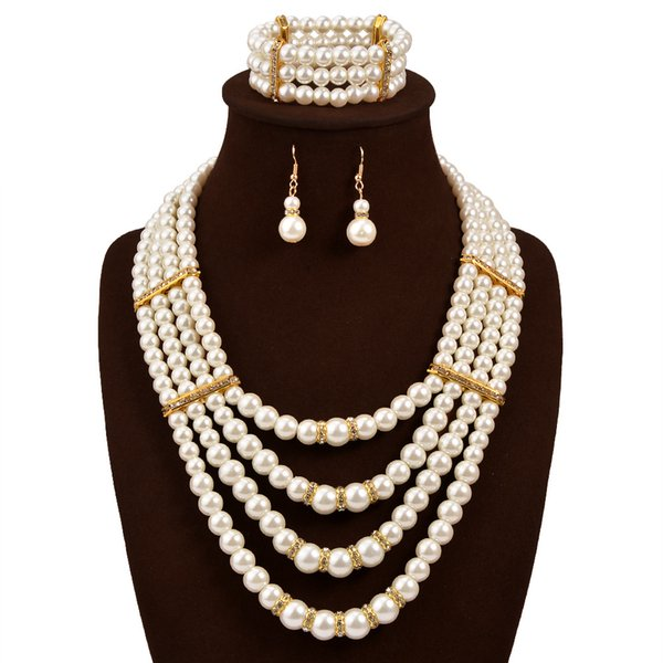 Necklace Earrings Wedding Jewelry Set For Lady 3pcs/set 3Pcs Jewelry Sets 18K Gold Plated Necklace Earrings Ring For Women Ladies Wedding