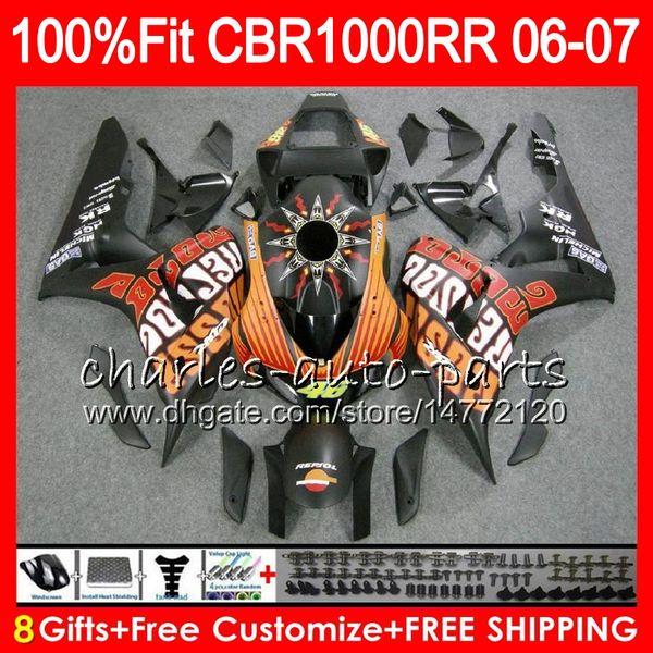 Injection Body For HONDA CBR 1000RR Matte Repsol CBR 1000 RR 06 07 78NO64 100% Fit CBR1000RR 06 07 Bodywork CBR1000 RR 2006 2007 Fairing kit