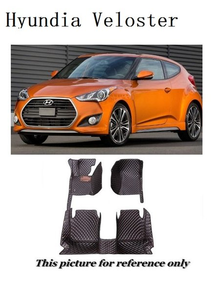 SCOT All Weather Leather Car Floor Mats for Hyundai Veloster Waterproof Anti-slip 3D Front & Rear Carpet Custom-Fit Left-Hand-Driver-Model