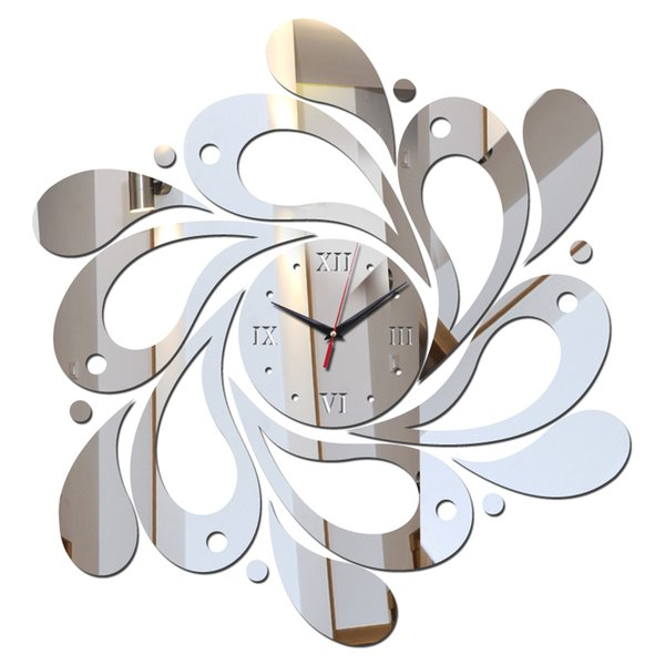 Wholesale- offerta speciale 3d fai da te adesivi orologio da parete orologi decorazione della casa autoadesivo acrilico specchio Mobili in stile moderno spedizione gratuita