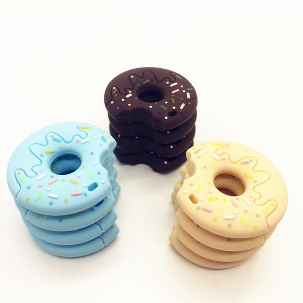 Newest Silicone Donut Teether with Rope Necklace Food Grade Silicone Teething Toy Donut Chewing Pendant Baby Gift Nursing Necklace