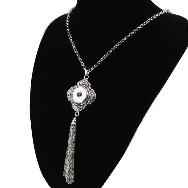 Women 'S Vintage Tassel 18mm Snap Button Necklace Boho Bohemian Necklaces &Pendants Diy Jewelry For Men Zg036