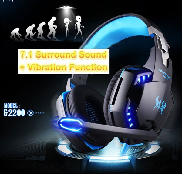 EACH G2000 Gaming Headphone with Glaring LED Light Over-ear Professional Gaming Headband with Mic Stereo Bass