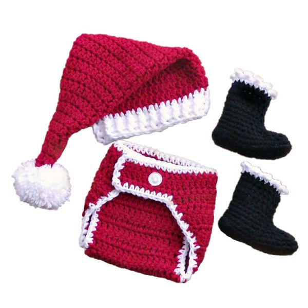 Crochet Baby Santa Elf Outfit,Handmade Knit Baby Boy Girl Pompom Christmas Hat Diaper Cover Booties Set,Infant Newborn Xmans Photo Prop