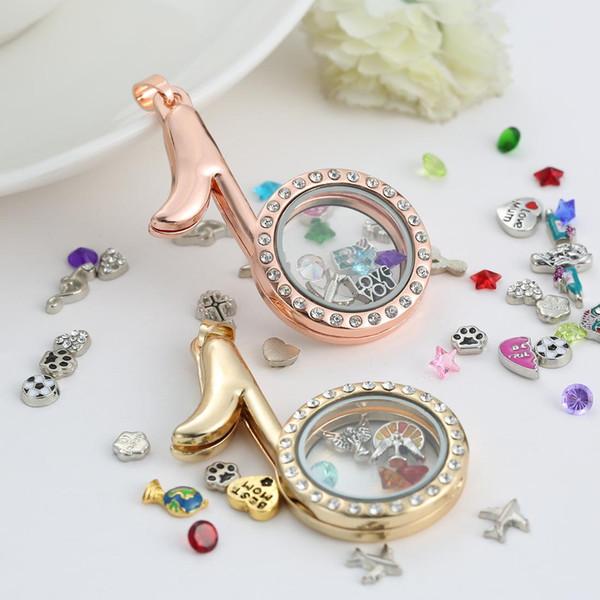 Moda DIY medalhão De Vidro Pingentes Colares de Liga de Zinco círculo de memória medalhões encantos flutuante magnético flutuante com Strass