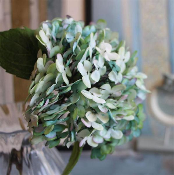 "Silk Hydrangea Bridal Bouquet 34cm/13.39"" Length Ink Hydrangeas 3 heads per bunch for Wedding Bride Bouquets 5 Colors Available"