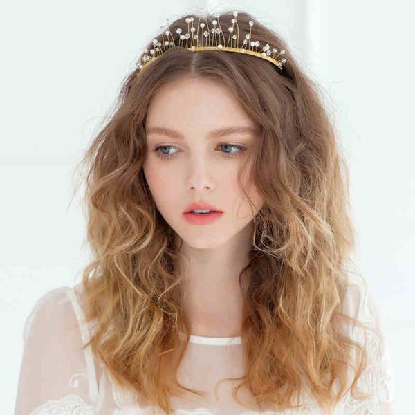 Gold Elegant Wedding Hair Accessories Crystal Beaded Handmade Flower Hair Clips For Girls Headband For Women Tiaras New Factory Wholesale