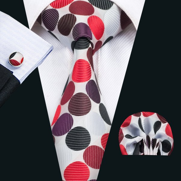 Classic Silk Men Ties Dot Tie Sets Colorful Mens Neckties Tie Hanky Cufflinks Set Jacquard Woven Meeting Business Wedding Party Gift N-1426